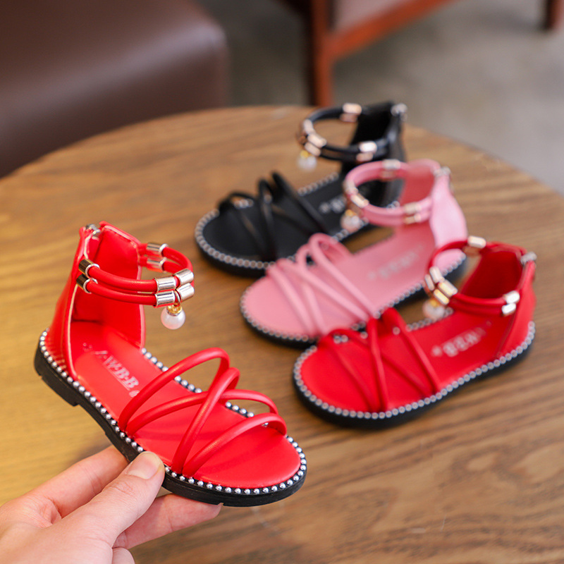 Summer New Children Non slip Gladiator Sandals Shoes Kids Romal Sandals Shoes For Girls Pearl Beach Sandals Size 21 36 in Sandals from Mother Kids
