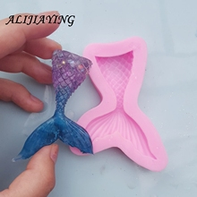 1Pcs DIY Christening Mermaid Tail Silicone Mold Fondant Cake Decorating Baking Tools Handmade Soap Fish Fork tail D0562
