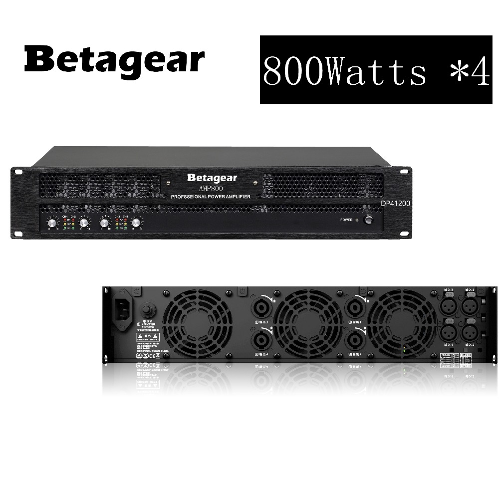 Betagear 4 Channel Power amplifier 800w 4 Powerful Amplifier Professional Stage Audio System For Bar Wedding