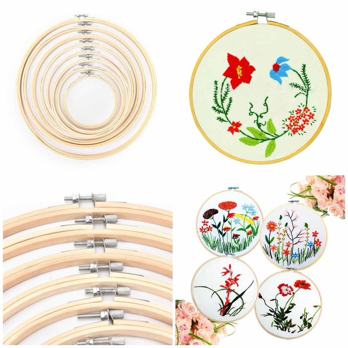 13-26cm Wooden Frame Hoop Circle Embroidery Round Machine Bamboo For Cross Stitch Hand DIY Household Craft Sewing Needwork Tool