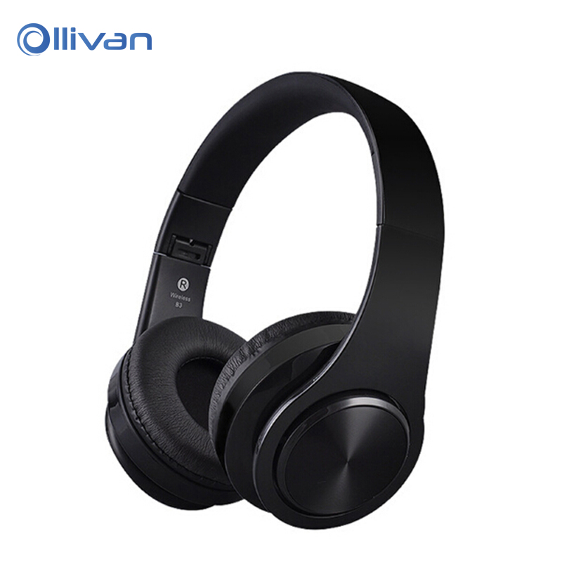 Ollivan B3 Bluetooth Headset 3.5mm AUX Foldable Sport Stereo Headphone Support TF Card Handsfree Wireless Earphone for Phones PC