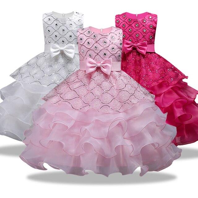 Новые платья для рождественской вечеринки для девочек, летние платья для девочек, Новогодняя одежда для девочек, одежда принцессы с цветами