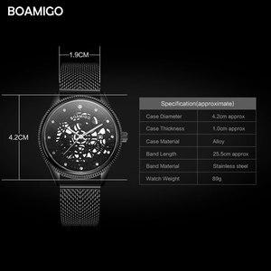 Image 5 - BOAMIGO מותג גברים קוורץ שעון אופנה שלד זכר שחור Milane רשת פלדה בנד אוטומטי תאריך שעוני יד שעון relogio masculino