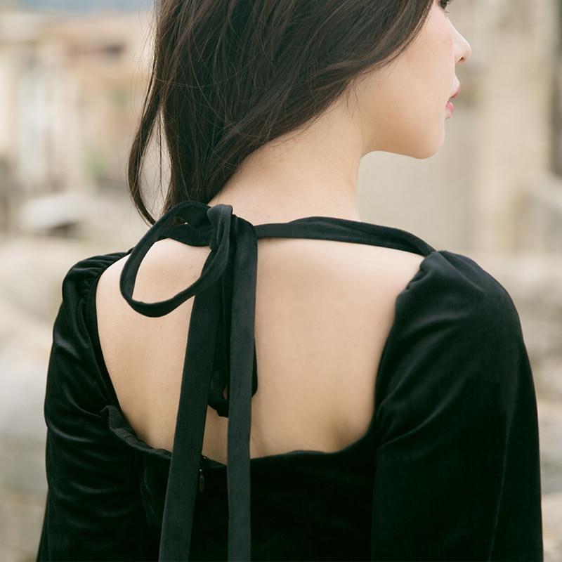 Manches Robe Nouvelle Élégant Lanterne De Vintage Velours Col Taille Jessica Haute Femmes Noir Mince Tout Longue Carré allumette Automne Magasin YPqHExY