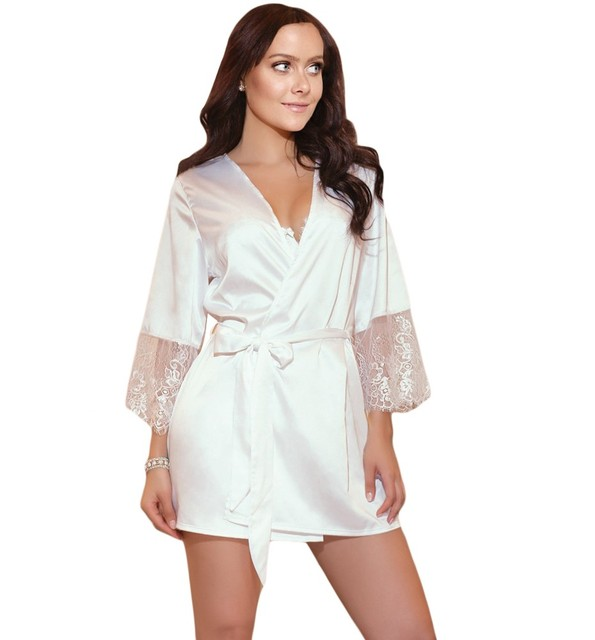 f0c41eb7f6e39 Women s Lady Bathrobes Satin Robe Nightgown Sleepwear Pajamas Lingerie Lace  Long Sleeve Night Dress
