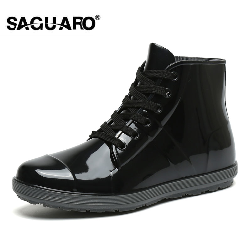 SAGUARO Black Rain Boots for Men Fashion Waterproof Galoshes Rubber Rainboots 2018 Mens Fishing Boots Casual Water Shoes free shipping fashion madam featherweight rubber boots rainboots gumboots waterproof fishing rain boots motorcycle boots