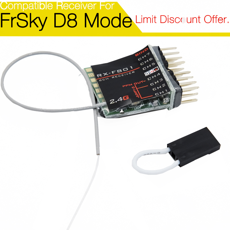 F801 8 channel Non-Telemetry Receiver for FrSky Taranis X9D/ X9D P/ QX7, XJT, DFT, DJT, DHT modules new 2 4g 8ch receiver ppm sbus output for frsky x9d plus xjt djt dft dht for rc multicopter fpv racing camera drone spare parts