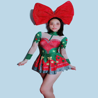 Women New Christmas Costume Red Green Sexy 3D Printed Dress Shiny Rhinestones Outfit Show Group Performance Outfit Dress Set