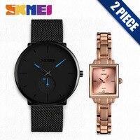 SKMEI Мужские Женские кварцевые часы модные топ брендовые наручные часы женские мужские s часы relogio masculino 9185 1407 2 шт набор relojes