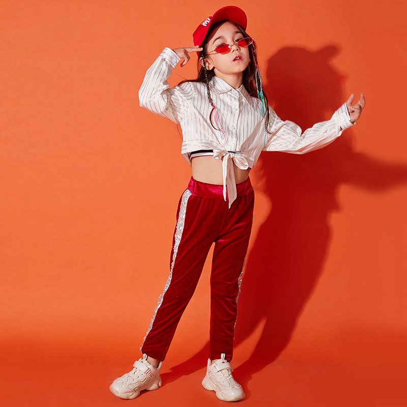 Hip Hop Dance Costume Kids Girs Jazz Costumes Performance Wear Chirden Stage Suit Street Dance Hip Hop Clothing DQS1028