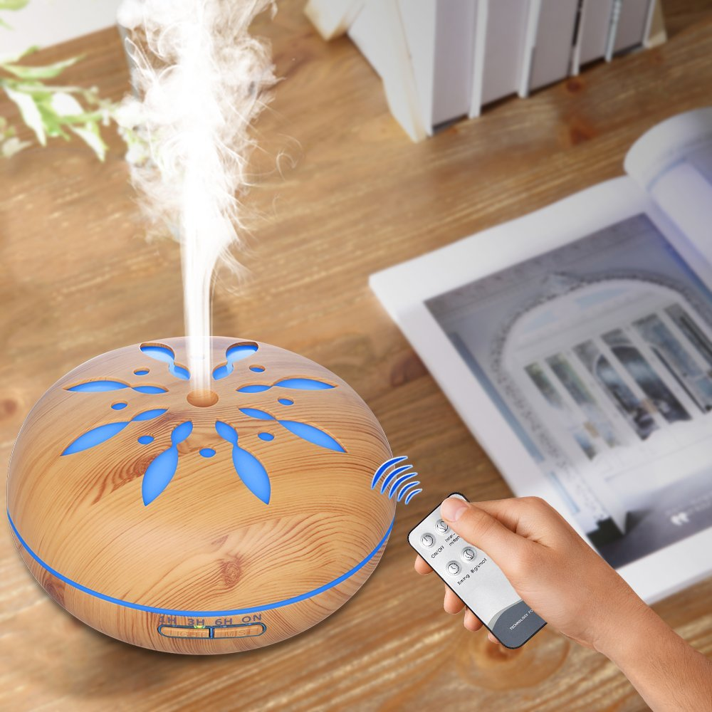 500ml Essential Oil Aroma Diffuser Aromatherapy Ultrasonic Humidifier With Remote Control 7 Changing Color LED Lights For Home