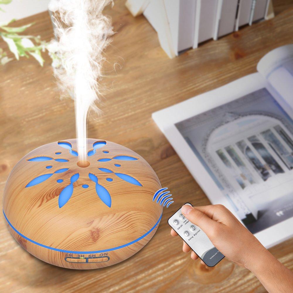 Humidificador ultrasónico aromaterapia difusor de Aroma de aceite esencial de 500 ml con Control remoto 7 luces LED de Color cambiantes para el hogar