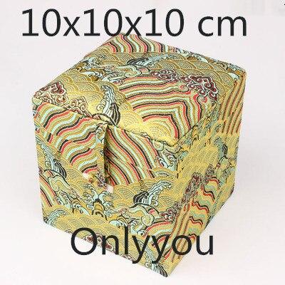 Boîte de rangement en tissu Cube carré en bois chinois de luxe boîte de rangement en soie bijoux en brocart artisanat en pierre boîte d'emballage cadeau Collection - 4