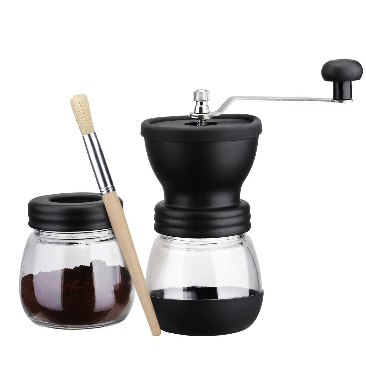 Manual Coffee Grinder with Storage Jar Soft brush Conical Ceramic Burr Quiet with 2 Glass Sealed Pots Portable Coffee Mill tool 680ml glass storage jar purple