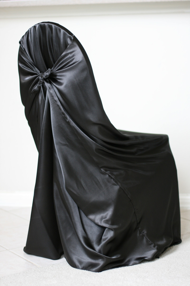 Black chair covers for weddings - 110pcs Black Satin Universal Chair Cover Satin Back Self Tie Chair Cover For Wedding Decoration