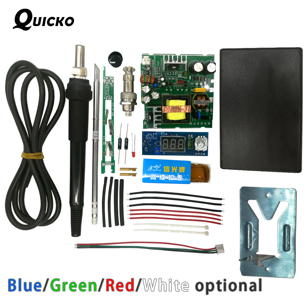 QUICKO STC T12 LED Digital Soldering Station DIY Kits ABS Plastic Shell New Controller Use For HAKKO T12 Handle Vibration Switch