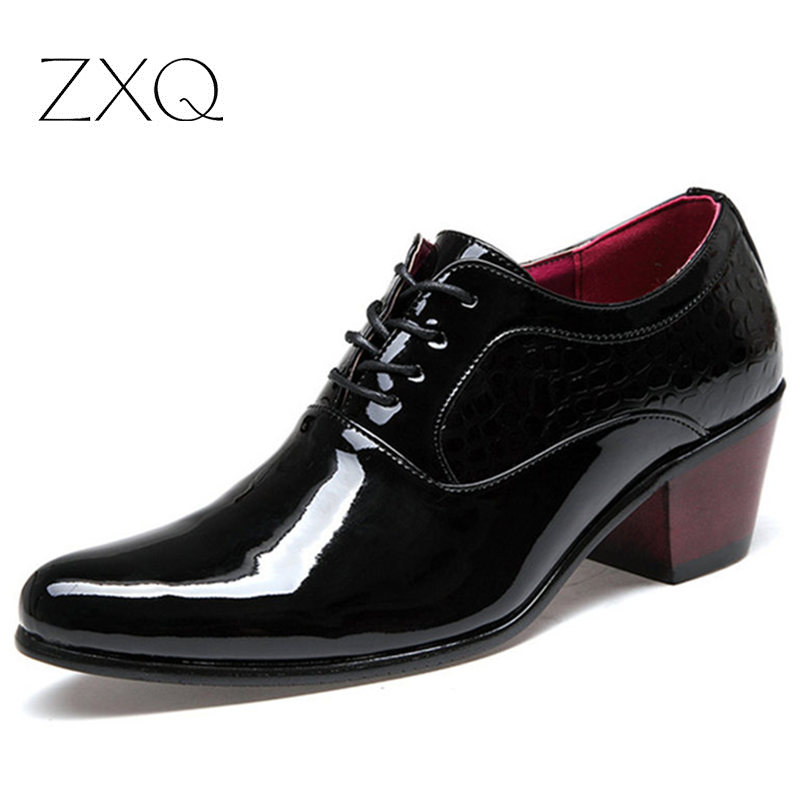 New 2016 Top Patent Leather Pointed Oxfords Men Height Increasing Classic Business Shoes Men s Dress