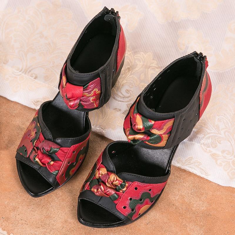 En Sandales Épais Cuir Style Véritable Main La Toe Talons Femmes Personnalisé Ethnique À Sandale Peep Rouge Chaussures D'été fqx7ExdAw
