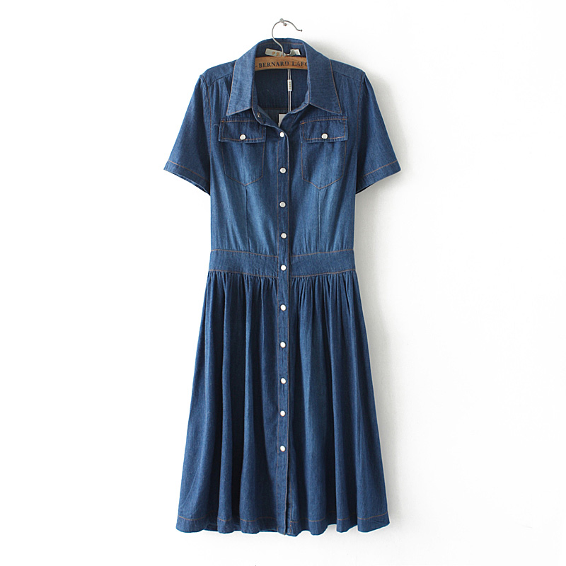 2018 New Arrival Women Fashion Casual Short Sleeves Denim Dresses, Female Plus Size Vestidos Vintage Slim Summer Dress