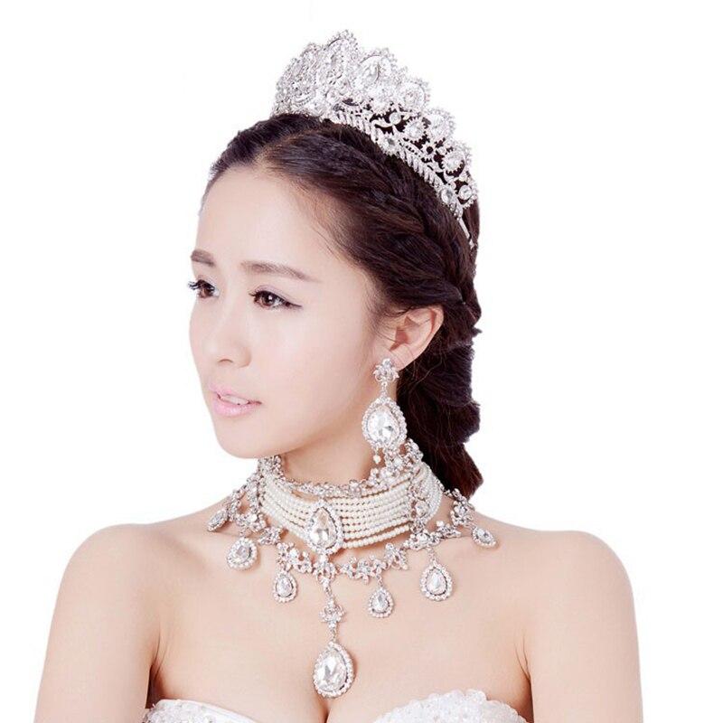 Bijoux de luxe collier boucles d'oreilles diadèmes couronne 3 pièces Roses or/argent mariée bijoux ensemble grande larme cristal perle bijoux ensemble - 2