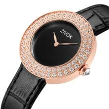 חדש אופנה Zivok מותג רוז זהב עור שעונים נשים גבירותיי בנות קוורץ שעוני יד reloj mujer