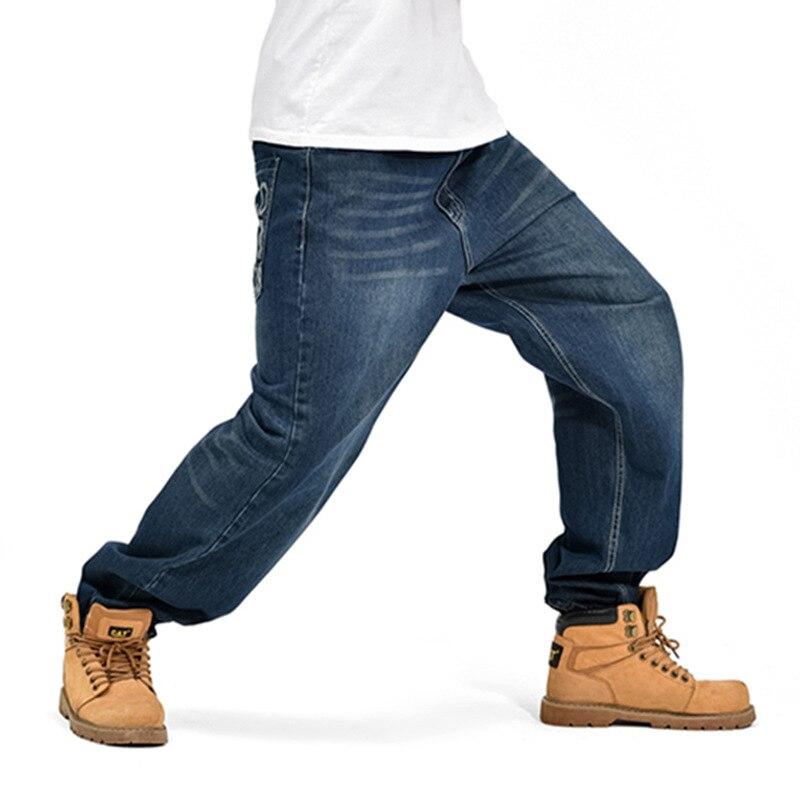 ФОТО Large Size Skateboard Jeans 2016 Blue Hip Hop Jeans Men Famous Designer Brand High Quality Cotton Skateboard Denim Jean Man