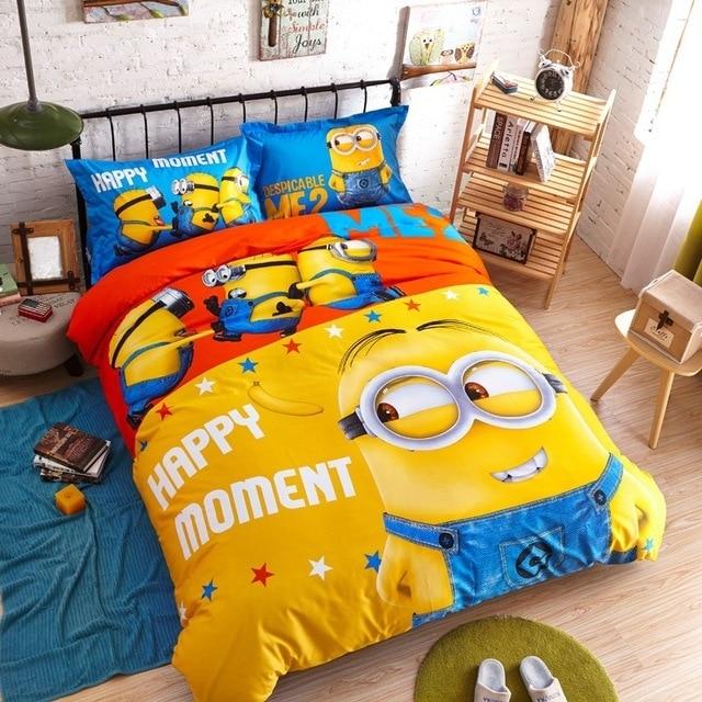 100 coton mignon minion ensemble de literie bande dessinee housse de couette literie drap de lit linge de lit pour enfants adulte roi reine