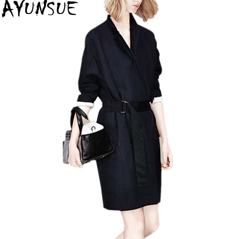 AYUNSUE 2018 Spring Autumn Fashion   Trench   Coat for Women Clothes Medium Long Women's Windbreakers Outerwear abrigo mujer WYQ1383