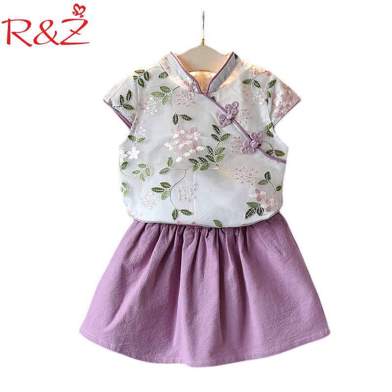 R&Z Baby Girls Clothes Set 2018 Summer New Girls Folk Style Embroidery Cheongsam Suit Two Pieces Kids Clothing