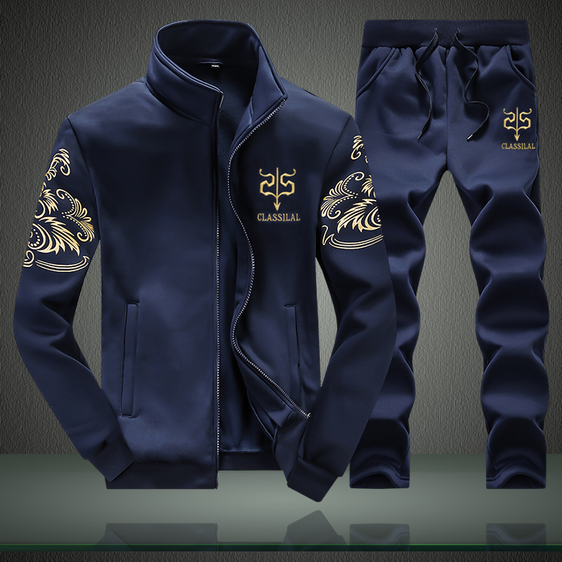 2019 Men Set Hoodies Sportswear Printed Sets Causal Patchwork Jacket Men 2Pcs Tracksuit Spring Sporting Sweatshirt Sweatpants