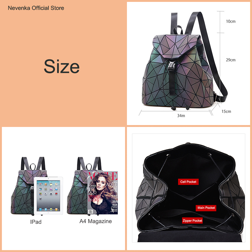 Nevenka Luminous Backpack Women Leather Geometric Backpacks Diamond Lattice Drawstring Backpacks Holographic Backpack Purse 2018 #2