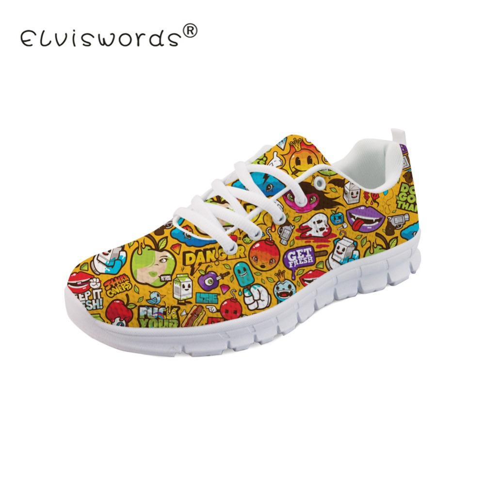 ELVISWORDS Women Espadrilles Character Sketch Pattern Casual Flat Shoes Woman Autumn Shoes Lace up Nurse Sneakers Tenis Feminino