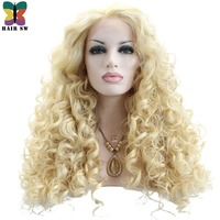 HAIR SW Long Body Wave Blonde Synthetic Lace Front Wigs Free Part Hand Tied Swiss Lace High Temperature Fiber For Black Women