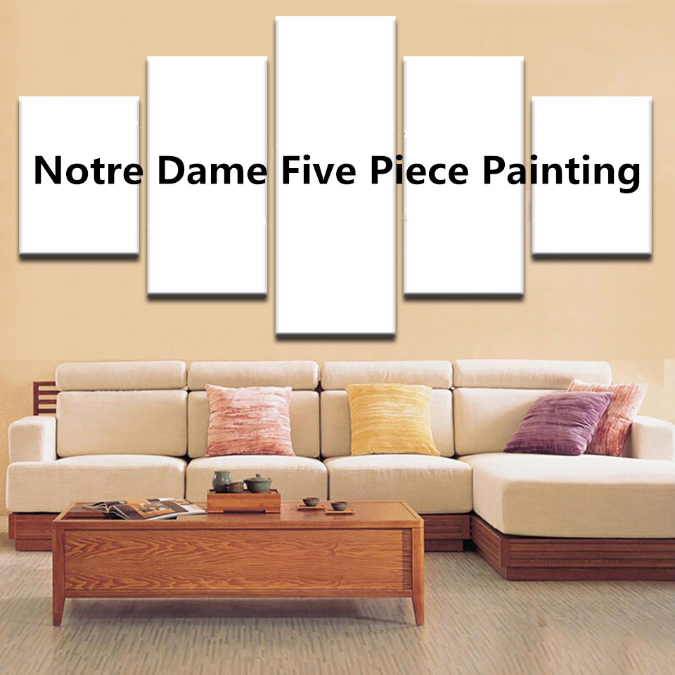 Us 5 Canvas Wall Art Pictures For Living Room Pieces Poster Modular Prints Notre Dame Piece Painting Home Decor Framed In Calligraphy