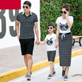 2017 family look mother father baby clothes mother son outfits clothing set men polo t-shirt owl mother and daughter clothes