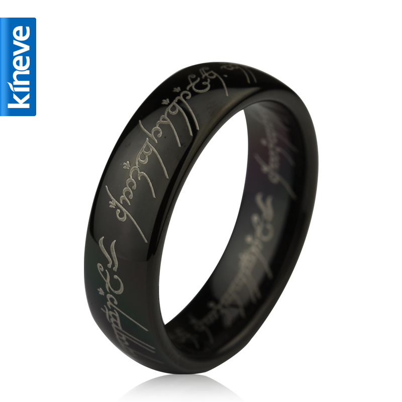 Image 3 - Lord Of The Rings Kineve LOTR Tungsten Carbide Ring Gold Free  With Chain Wide Ring Men Engagement Christmas Jewelry PresentRings   -