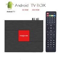 Magicsee DVB S2/T2/C Satellite Decoder Android TV Box 4K Smart TV Set Top Box 3GB 32GB Amlogic S912 IPTV CCcam HD Media Player