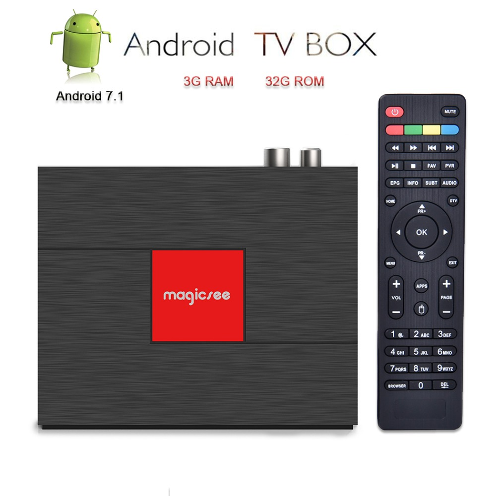 Magicsee DVB-S2/T2/C Satellite Décodeur boîtier de télévision androïde 4 K télévision intelligente Set Top Box 3 GB 32 GB Amlogic s912 IPTV CCcam HD lecteur multimédia