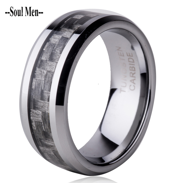 Free Shipping 8mm Grey Carbon Fiber inlay Tungsten Carbide Rings Comfort Fit Men's Wedding Band Size 7 8 9 10 11 12  WTU008R