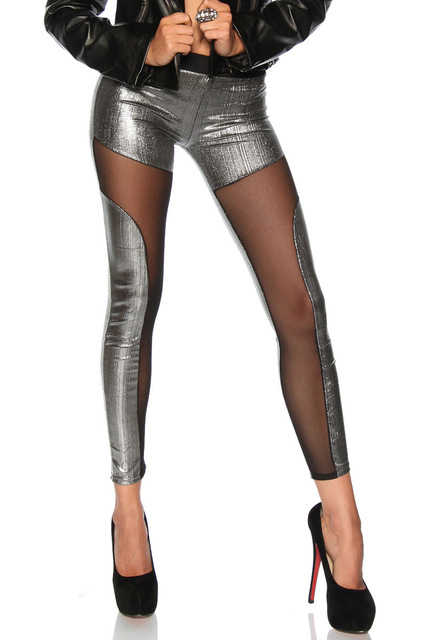Women's Sheer Detail Metallic Color Leggings 3 colors XS-S
