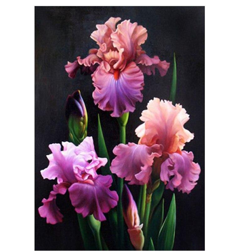 Ronde cristal Point De Croix image Diamant Broderie fleur et usine déco Diamant peinture moasic floral image pâtes