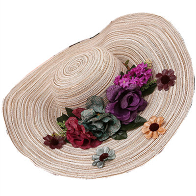 Flor de ala ancha de paja playa sunhat del verano Mujeres de La Manera Amplia Borde grande Floppy Summer Beach Sun Sombrero de Paja con flor