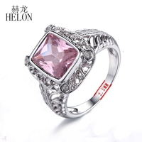 HELON Details About Natural Diamonds 10x8mm Cushion 5ct Pink Topaz Engagement Wedding Ring Fashion Jewelry Solid