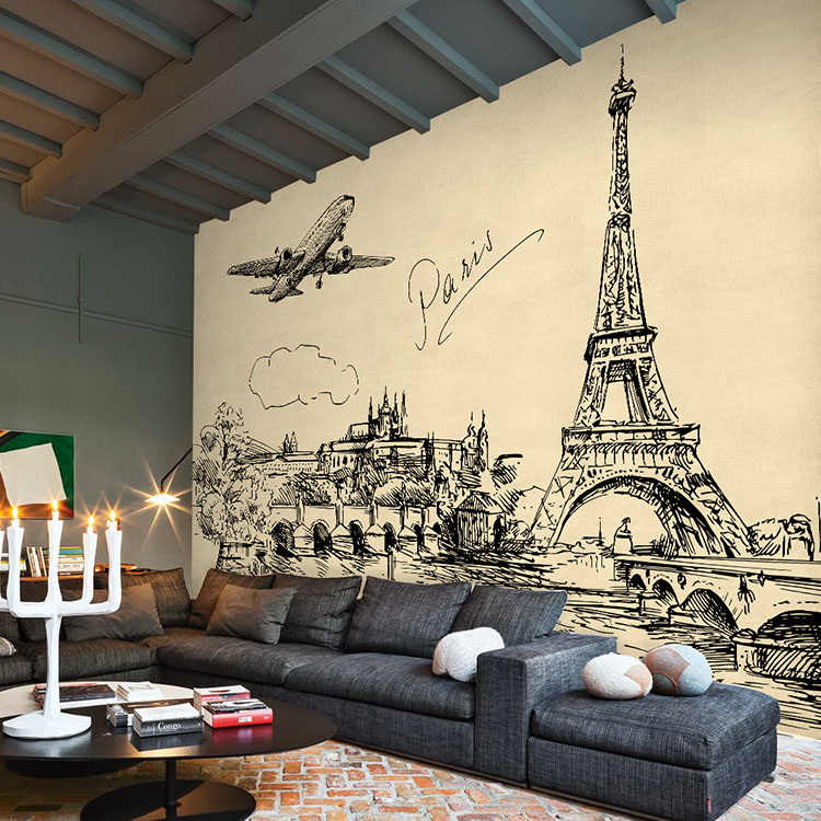 Custom hand painted sketch simple corner cafes urban 3d for Cafe mural wallpaper