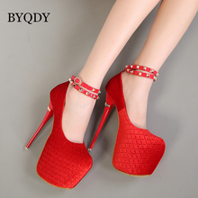 BYQDY New Rivet Buckle Strap Sexy Pumps Extreme High Heels 16cm Red Wedding Shoes Women Platform Valentine Dropship