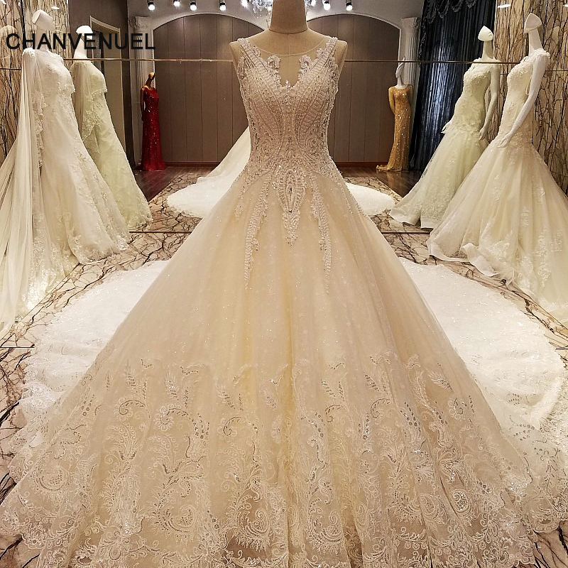 LS79210 sexy weddings dress 2018 see trough back sleeveless ball gown mariage lace arab wedding gowns