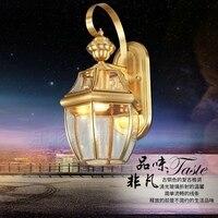 waterproof outdoor wall lamp European full copper lamp