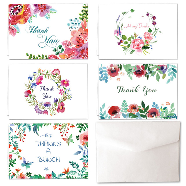 50 unids/lote Tarjeta Tarjetas de Agradecimiento 5 Diseños Gracias ...