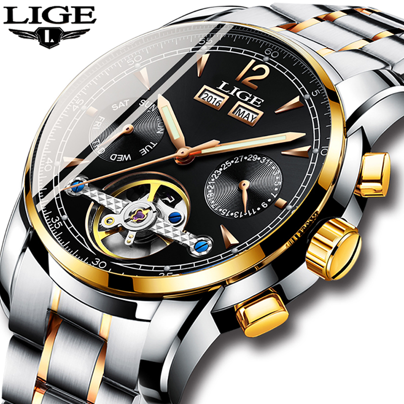 Homens Relógios De Luxo Top Marca LIGE Tourbillon Mecânica Esportes Relógio Dos Homens de Negócios de Moda Homem Automático Relógio Relogio masculino