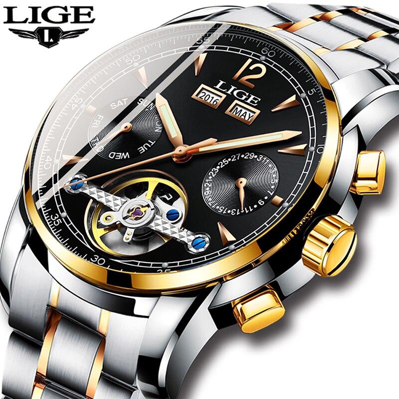 d8987547e4b Comprar Homens Relógios De Luxo Top Marca LIGE tourbillon Mecânica esportes  Relógio Dos Homens de negócios de Moda Homem Automático relógio Relogio ...